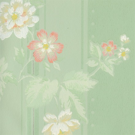Close image of pink and white flowers painted on pale green background