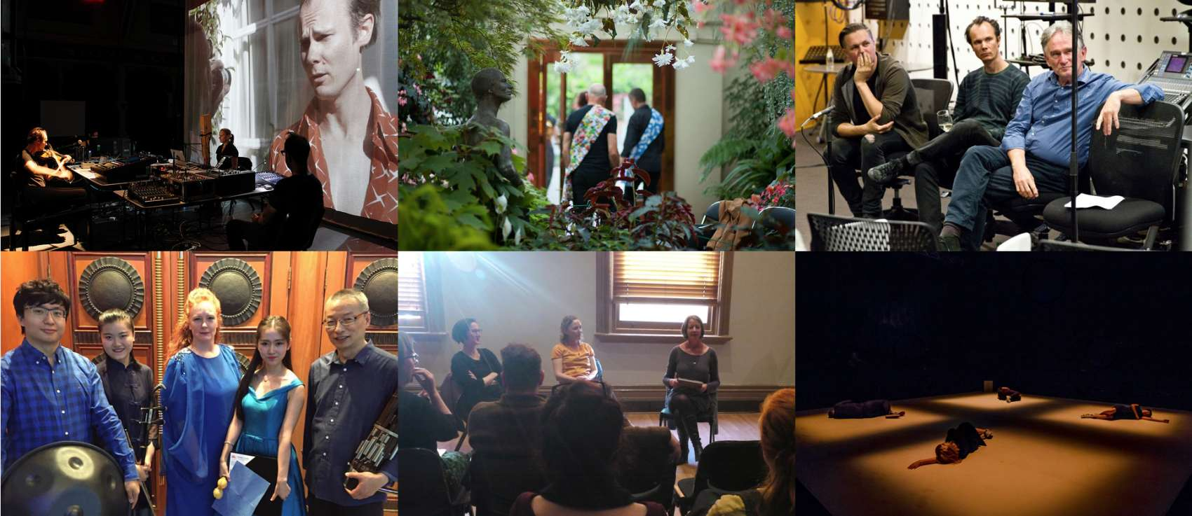 Collage of images of performance stills and talks