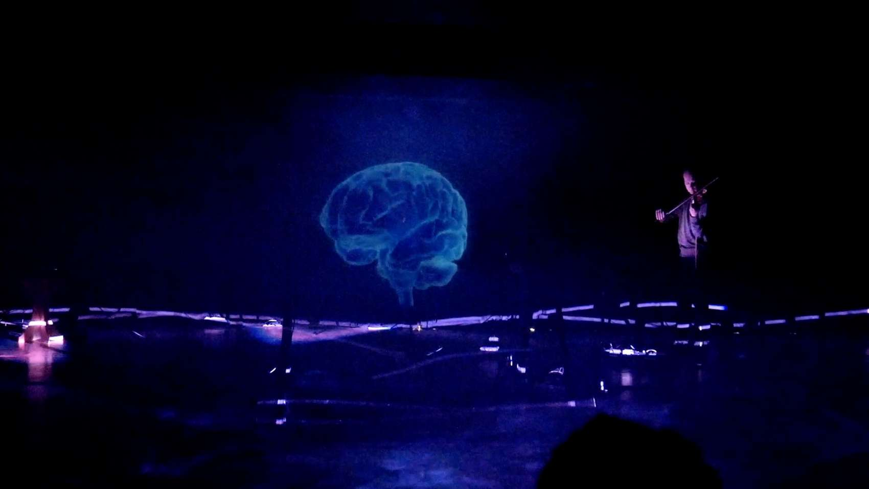 In a dark space we see a giant projection of a brain and a person playing violin