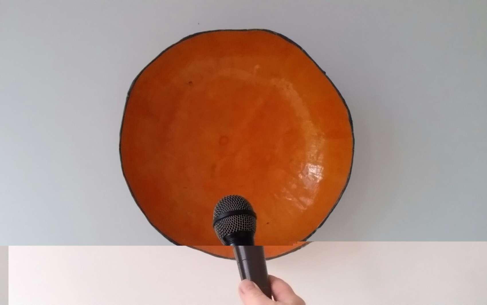 Orange bowl and microphone