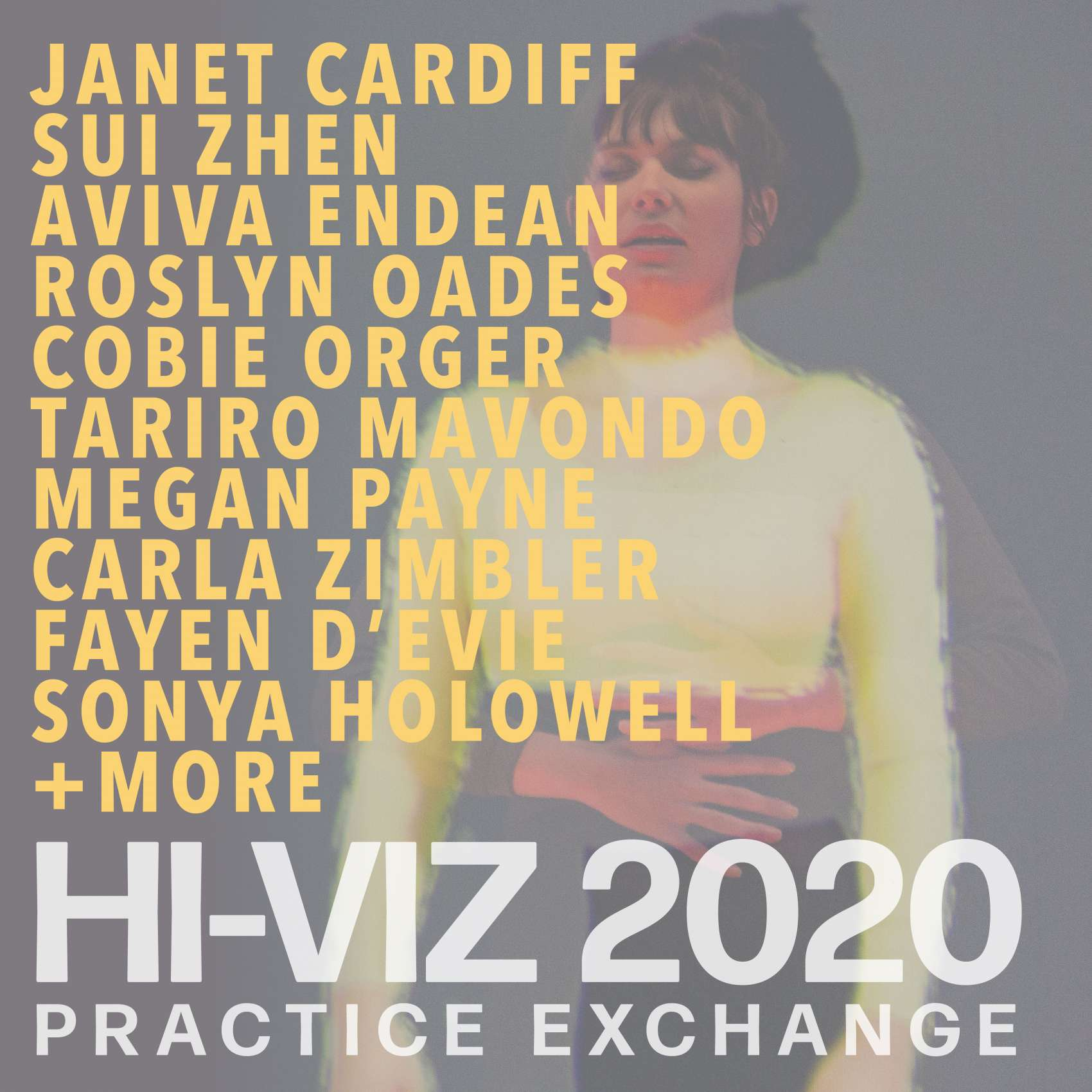 Event list of names: Janet Cardiff, Sui Zhen, Aviva Endean, Roslyn Oades, Cobie Order, Tariro Mavondo, Megan Payne, Carla Zimbler, Fayen d'Evie, Sonya Holowell + more: Hi-Viz 2020 Practice Exchange